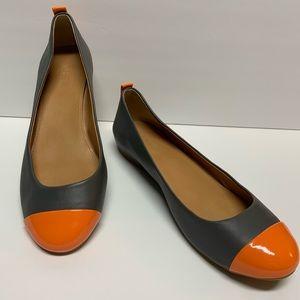 J Crew Cap Toe Ballet Flats 8.5 Gray and Orange